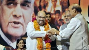 Controversial former minister Amit Shah, the newly appointed president of India's ruling Bharatiya Janata Party (BJP) in New Delhi on 9 July 2014