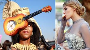 L: A woman in an elaborate guitar and fan hat at July Durban R: A dress-up female race-goer eating an ice cream - Durban, South Africa - Saturday 5 July 2014
