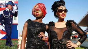 L: A man dressed up as a sailor at July Durban R: Two women in black sequined outfits at the race court in Durban, South Africa - Saturday 5 July 2014