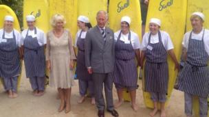 The Duke and Duchess of Cornwall with Fifteen chefs