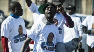 Supporters of Congolese pastor Joseph Mukungubila in Johannesburg on 15 July 2014