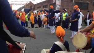 People gathering at the Sikh festival in Middlesbrough