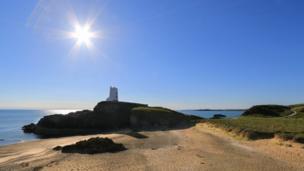 The Llanddwyn Island lighthouse on Llanddwyn Island, Anglesey