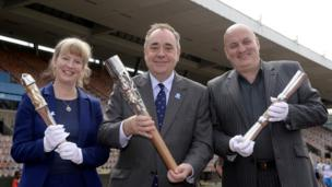 Scotland's First Minister Alex Salmond with the Glasgow 2014 Queen's Baton at Meadowbank Stadium, Edinburgh.