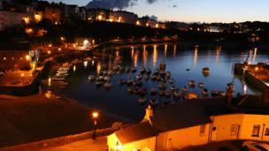 The harbour at Tenby, Pembrokeshire, at night