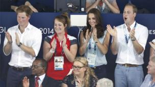 The Duke and Duchess of Cambridge and Prince Harry have been spotted enjoying the Commonwealth action at several venues in Glasgow.