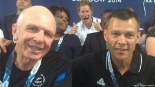 A playful Prince Harry was also seen photobombing New Zealand rugby sevens coach Sir Gordon Tietjens and Sport Manawatu chief executive Trevor Shailer