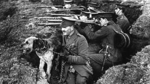 Captain Richardson with a dog in 1914