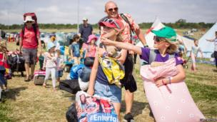 Festival-goers arriving at Camp Bestival