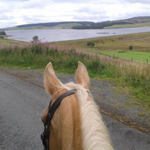 Approaching Llyn Brenig on horseback