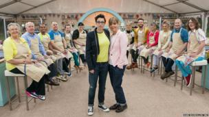 Sue and Mel with the 12 new Great British Bake Off contestants