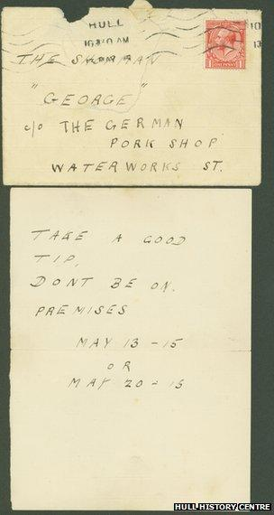 A threatening letter sent to Charles Hohenrein