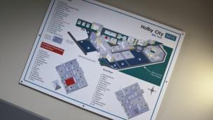 Cynllun manwl o adrannau ysbyty Holby City // A detailed plan of the departments in Holby City Hospital