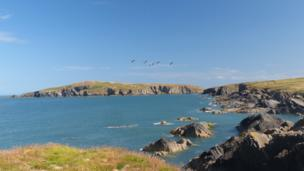 Gwbert, Ceredigion, looking towards Cardigan Island