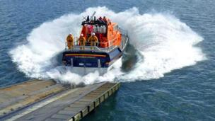 The RNLI Mumbles lifeboat launching