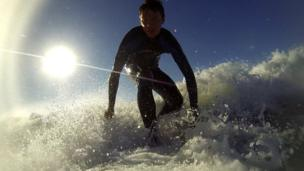 James Williams surfing