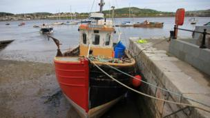 Boats in the harbour at Conwy