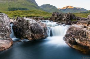 Calming waterfall at Sunrise in Glen Etive
