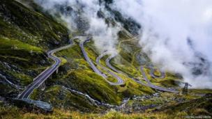 The Transfagarasan mountain road in Transylvania, Romania