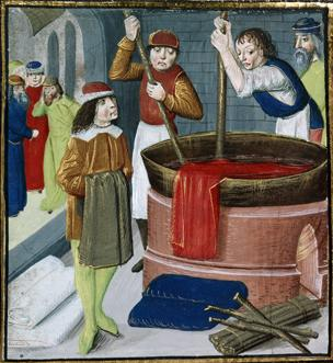 15th Century print of dyers at work