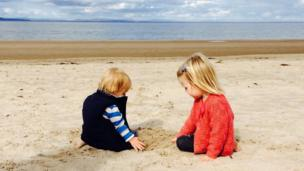 Finlay and Lily on the beach
