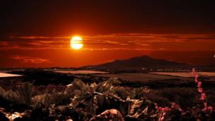Sunset over Carn Llidi,