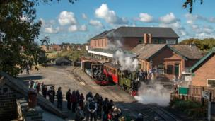 Steam locomotive enthusiasts at Tywyn's Talyllyn Railway