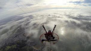 Cardigan Bay and Porthmadog seen from a paramotor