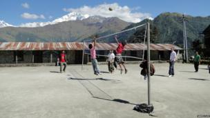 Volleyball in the Himalayas, Nepal.