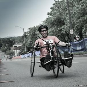 A wheelchair competitor in the Vermont City Marathon