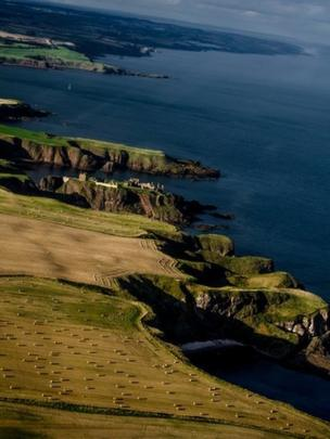 Aerial view of Dunnottar Castle