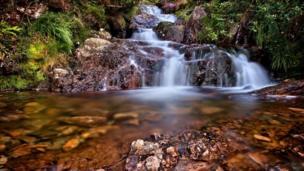 Afon Goch waterfall, Llyn Dinas, Gwynedd.
