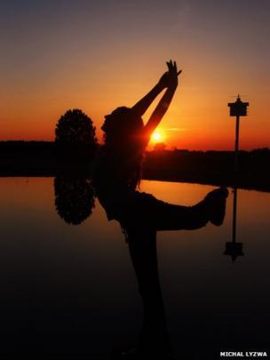 Dance pose at sunset