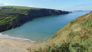 View from Mwnt, near Cardigan, Ceredigion. Photo taken by Peter Roberts.