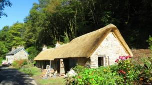 A thatched roof barn near the village of Drefach Felindre in Carmarthenshire