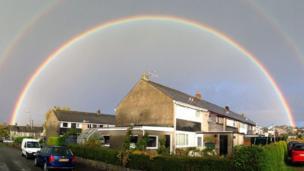 A double rainbow above Trawsfynydd, near Blaenau Ffestiniog, Gwynedd.