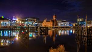 Cardiff bay at night.
