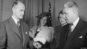 George F. Kennan is sworn in as American ambassador to the Soviet Union in 1952