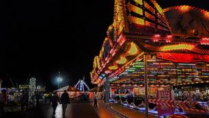 The last night of the fair at Porthcawl in Bridgend.