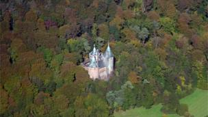 Aerial view of Castle Coch