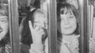 Beatles fans outside theatre gates