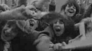 Excited Beatles fans in Cardiff