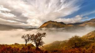 Early morning mist from Llanberis Pass, Gwynedd out towards Cwm Gwynant.