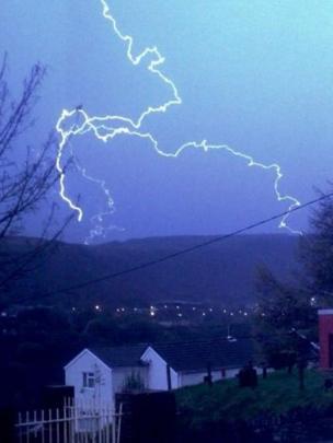Lightening in Blaenllechau, Rhondda Cynon Taff