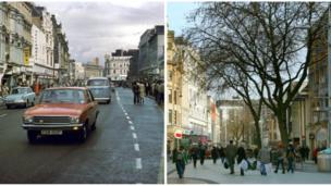 A'r Syryd fawr? Heol y Frenhines, Caerdydd // That main street? Well it was Queen Street, Cardiff