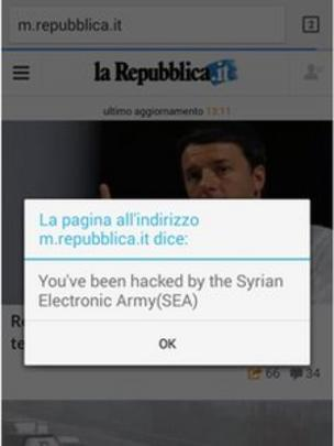 Syrian hacking group places pop-up message on websites - BBC