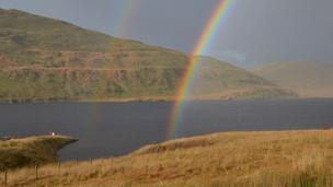 Rainbow and rain over Nant-y-moch Reservoir, Ceredigion