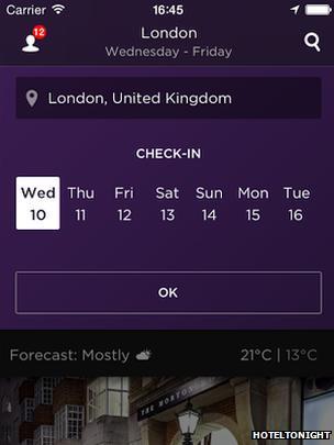 A screen shot from HotelTonight's app