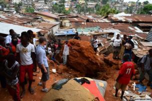 Site of a rock fall in Freetown, Sierra Leone