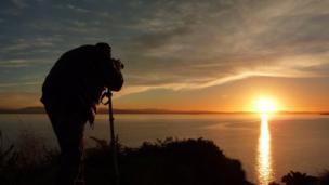 Burntisland sunset and photographer